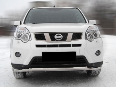 Nissan X-trail  2011-2014г.в.-Дуга передняя по низу бампера d-60+53 радиусная двойная